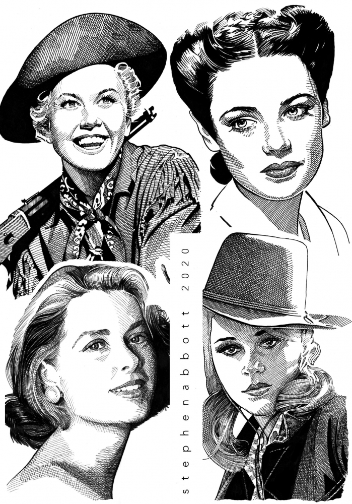 Grace Kelly, Gene Tierney, Jane Fonda, Doris Day por Stefanosart